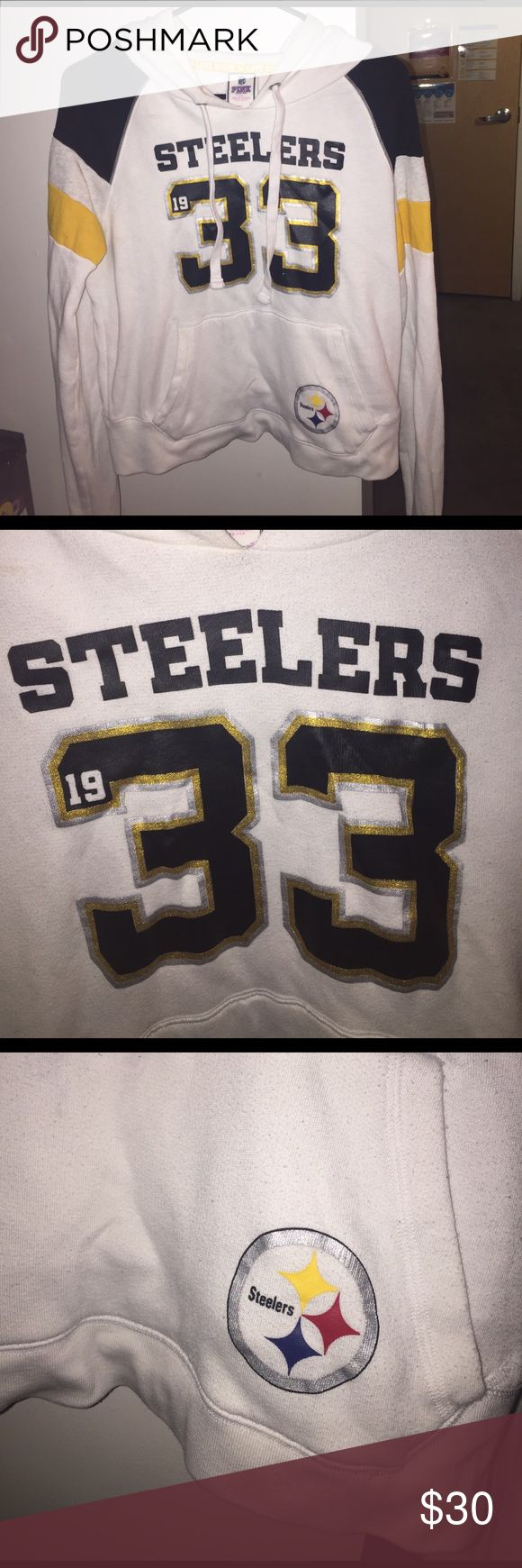 VS PINK STEELERS HOODIE Perfect condition limited edition Victoria's Secret steelers hoodie. Size L but has a cropped fit. So cute and cozy PINK Victoria's Secret Tops Sweatshirts & Hoodies