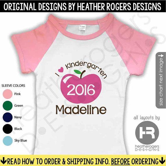 First Day of Kindergarten Shirt - Raglan Personalized Back to School Shirt - Monogram Love Kindergarten Shirt - Girls Kindergarten Shirt