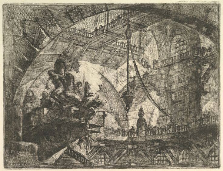 Giovanni Battista Piranesi (Italian, Mogliano Veneto 1720–1778 Rome), Prisoners on a Projecting Platform, from Carceri d'invenzione (Imaginary Prisons), ca. 1749–50. Giovanni Bouchard (French, ca. 1716–1795), publisher. Etching, engraving, sulphur tint or open bite, burnishing; first state of four (Robison); Sheet: 19 1/2 x 25 3/16 in. (49.5 x 64 cm) Plate: 16 1/8 x 21 1/4 in. (41 x 54 cm). Harris Brisbane Dick Fund, 1937. The Metropolitan Museum of Art, 37.45.3(33) © 2000–2016 The…