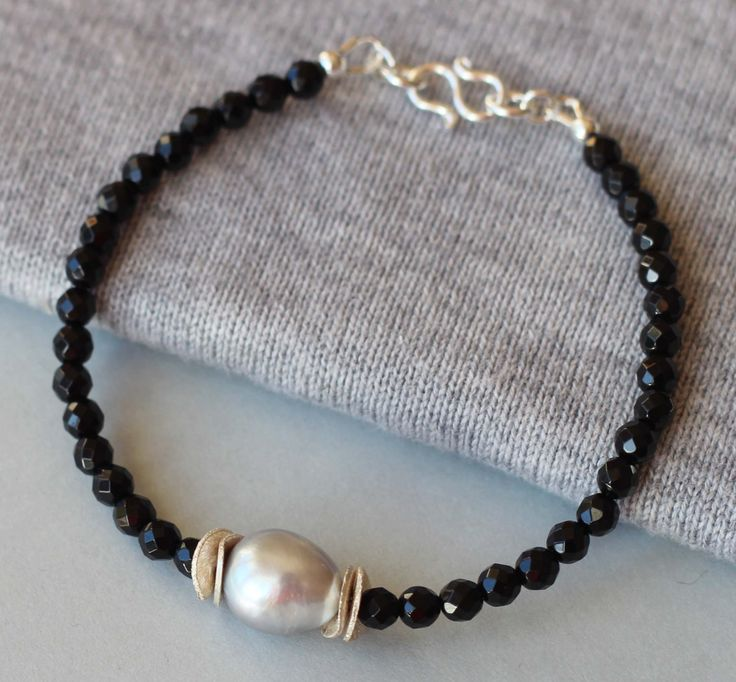 Black Onyx Gemstones and Freshwater Baroque Grey Pearl with Sterling Silver Beads Bracelet by ILgemstones on Etsy