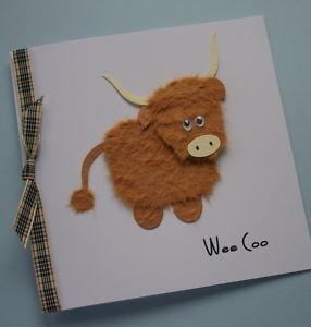Handmade 'Wee Coo' Highland Cow Card / Scottish