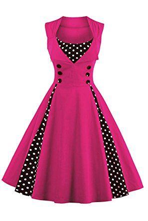 Vestido rosado vintage y clásico a los años 50 cuello redondo sin mangas unicolor, primavera