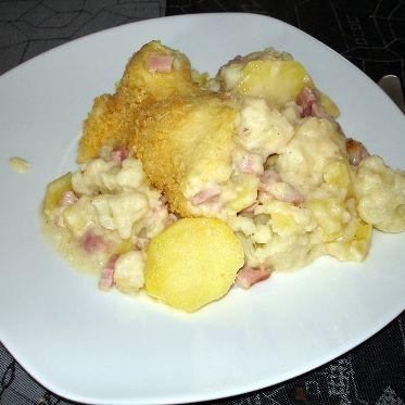 Blumenkohl-Kartoffel-Auflauf mit Schinken