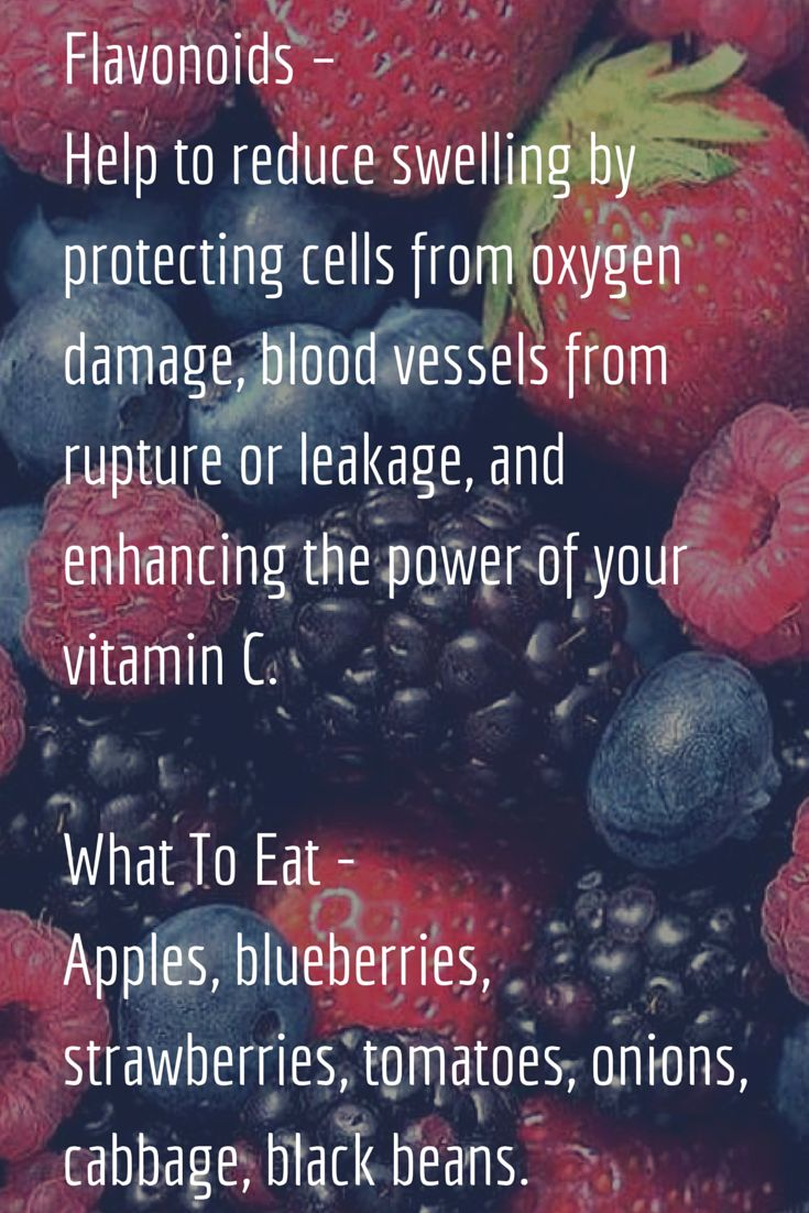 Flavonoids – Help to reduce swelling by protecting cells from oxygen damage, blood vessels from rupture or leakage, and enhancing the power of your vitamin C.  What To Eat  After ACL Surgery- Apples,blueberries, strawberries, tomatoes, onions, cabbage, black beans.