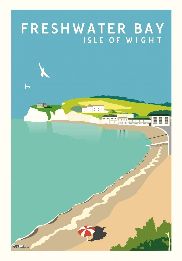 Freshwater Bay, Isle of Wight Vintage Style Travel Poster