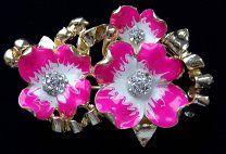 Брошь-кулон Розовые цветы, золотистый тон, эмали, кристаллы.