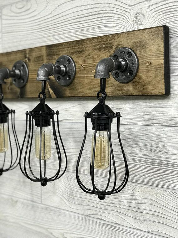 Dark Walnut Cage Light Fixture Bathroom Lighting Wall