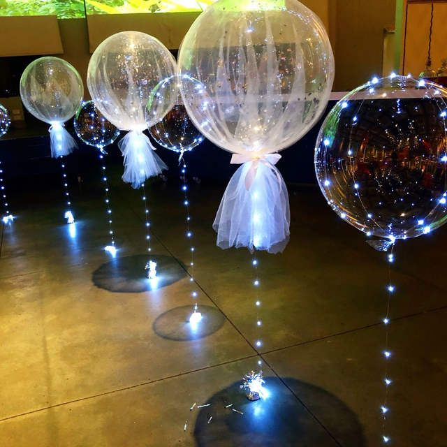 LED Lights Clear Bubble Helium Balloons Wedding Birthday Party Decorations Decor