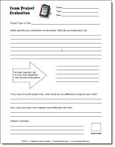 Team Project Evaluation freebie and other cooperative learning resources in Laura Candler's online file cabinet