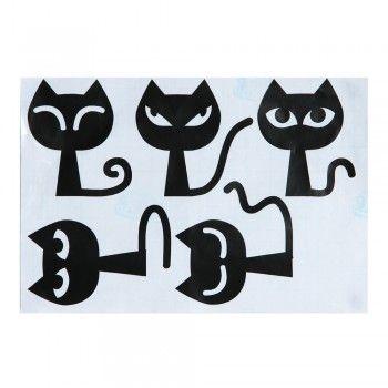 Wall Sticker Carta Parati Adesivo Decal Gatti Neri 29,5x20CM