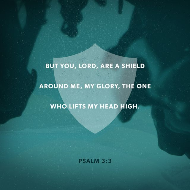 """But thou, O Lord, art a shield for me; my glory, and the lifter up of mine head."" ‭‭Psalms‬ ‭3:3‬ ‭KJV‬‬ http://bible.com/1/psa.3.3.kjv"
