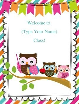FREEBIE Customizable Owl Welcome Sign by Inspired Owl's Corner