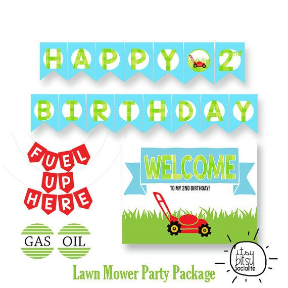 Lawn Mower Party Banner Package 2nd by ShopLemonadePrints on Etsy