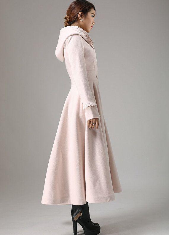 pink wool coat women coat maxi coat winter coat coat dress