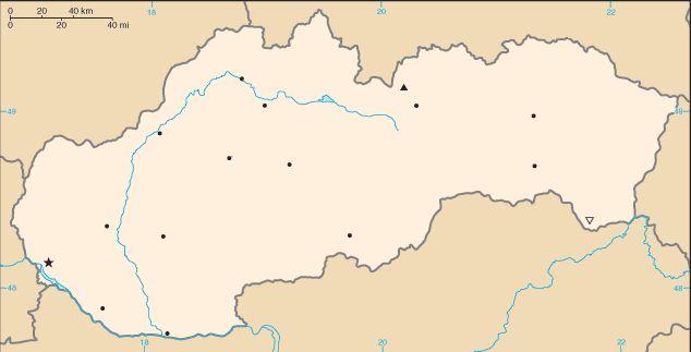 Szlovákia elhelyezkedése