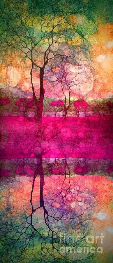 Vibrant colors. Alcohol ink painting, trees and sunset water reflection.