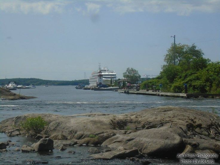 The Pearl Mist docked in the distance as seen at the Mouth of the seguin River below the Trestle august 6, 2017 Parry Sound