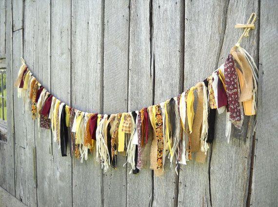 Autumn Fabric Garland - Wedding, Halloween, Thanksgiving, Display - 6 Ft Party Decoration - Black, Burlap, Yellow, Gold