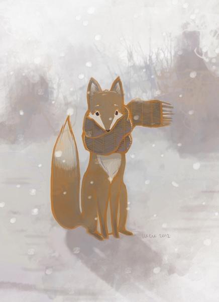 Red Fox in a Grey Scarf Art Print