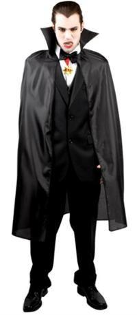 Vampir Pelerini, Siyah Kumaş İpli 120cm Parti Kostümleri - Yetişkin Parti Kostümleri Resimdeki diğer kıyafet ve aksesuarlar pelerine dahil değildir.