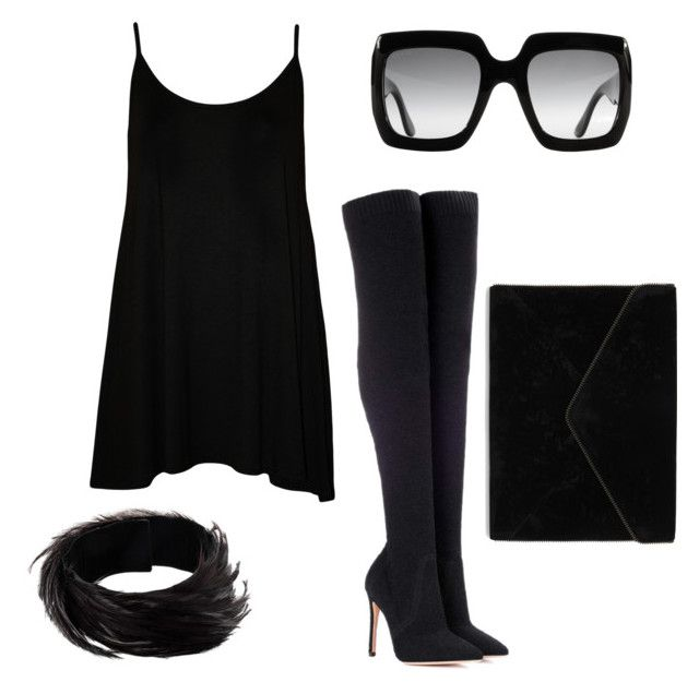 """""""All Black #2"""" by tripti917 on Polyvore featuring WearAll, Gucci, Dries Van Noten, Gianvito Rossi and Rebecca Minkoff"""