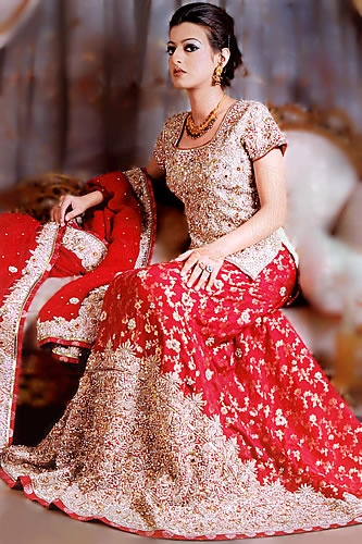 Red bridal lengha- with the work in silver pls!