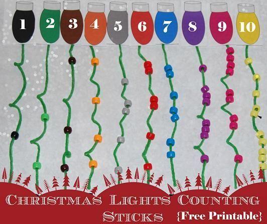 Christmas Math Activities: Christmas Lights Activities: Pony Bead Counting Sticks - The Preschool Toolbox Blog