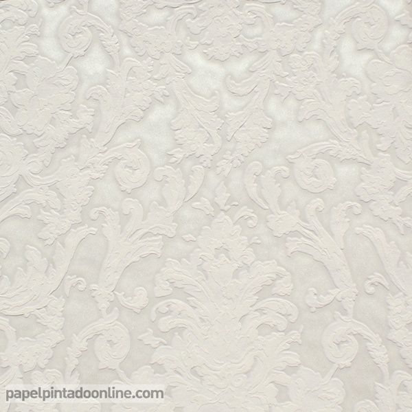 Papel pintado flock 4 95539 2 papel de fondo blanco perla for Blanco perla pintura pared