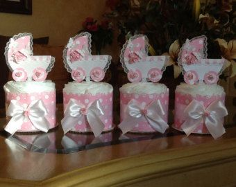 Mini diaper cake set of 4 baby girl carriage centerpiece pink and white with butterflies mini diaper cake/ baby shower centerpieces