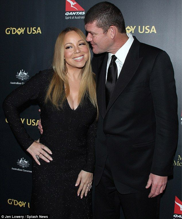 Glowing: Mariah Carey gushed about her 35 carat diamond ring given to her by her fiancé,  James Packer, during an interview with E! News; pictured  on January 28 in Los Angeles at the G'Day USA Gala
