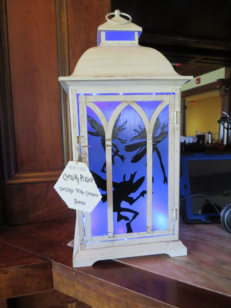 Saw this idea with a mason jar but thought this lantern took it to the next level. Harry Potter Cornish Pixies Lantern