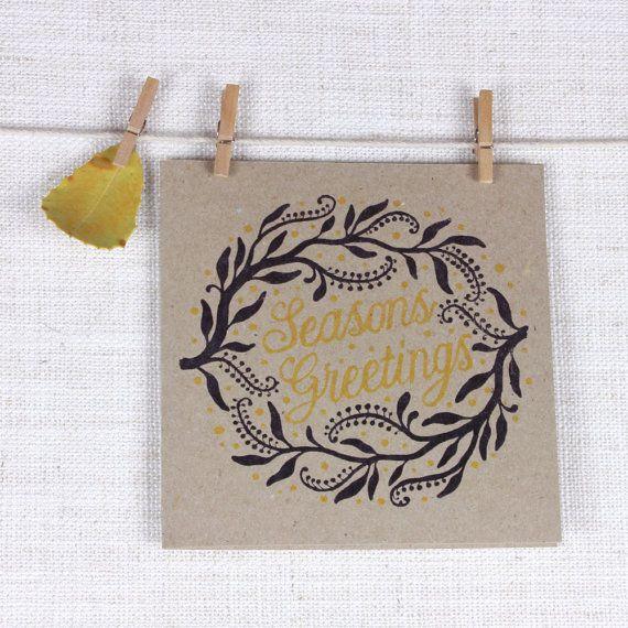 Square Seasons Greetings Recycled Christmas card with Wattle wreath design #christmas #card #seasons #greetings #wreath
