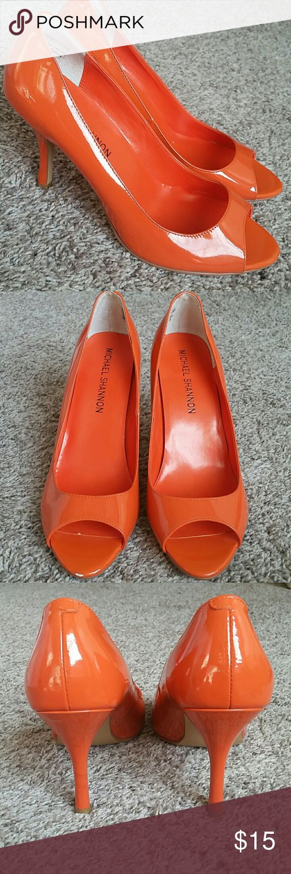 "Michael Shannon Orange Pumps Perfect for Spring and Summer! Michael Shannon Orange peep toe pumps.  Minimal scuffing on shoes. In great condition. Women's size 7.5 Heel height: 3.75"" Michael Shannon Shoes Heels"