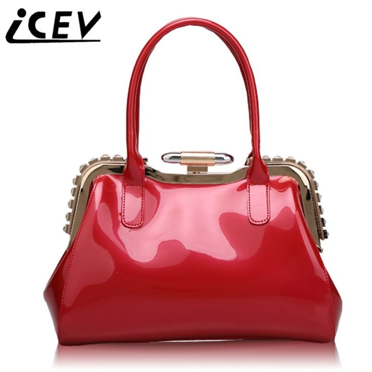 38.71$  Watch here - http://alilec.shopchina.info/go.php?t=32804042478 - ICEV Fashion Patent Leather Rivet Luxury Handbags Women Bags Designer Handbags High Quality Womens Patent Leather Handbag Brand 38.71$ #buyonline