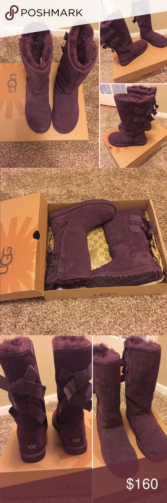 Ugg Everleigh Port Purple Women Boots US6 AUTHENTIC! Used once only. Paid $209. Selling for $160. I'm normally size 7 but size 6 fits perfectly. Comes with the original box. UGG Shoes Winter & Rain Boots