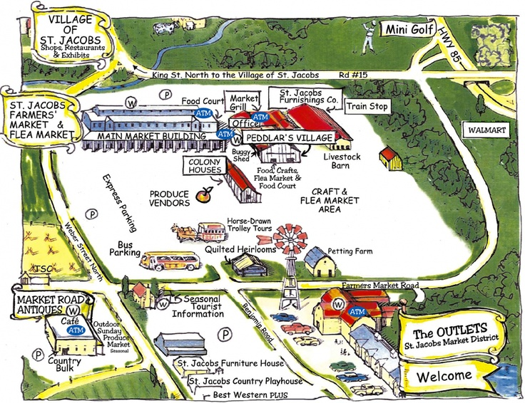 lovely map of St. Jacobs Farmers' Market, St. Jacobs, Ontario