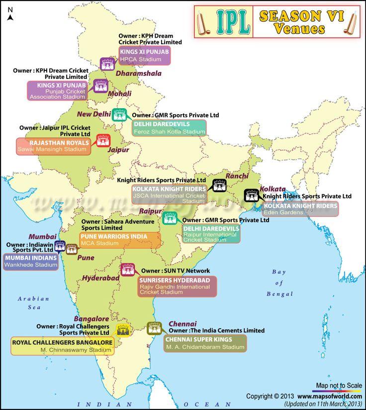 2013 IPL Cricket  Match Venues Map