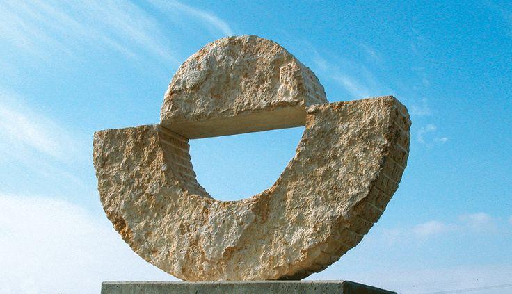 """Firmament"". 2004.  Stone.  200 x 265 x 50 cm.  Ganey-Tikva, Israel."
