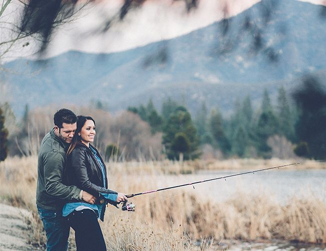Fishing engagement photos // mountains + camping