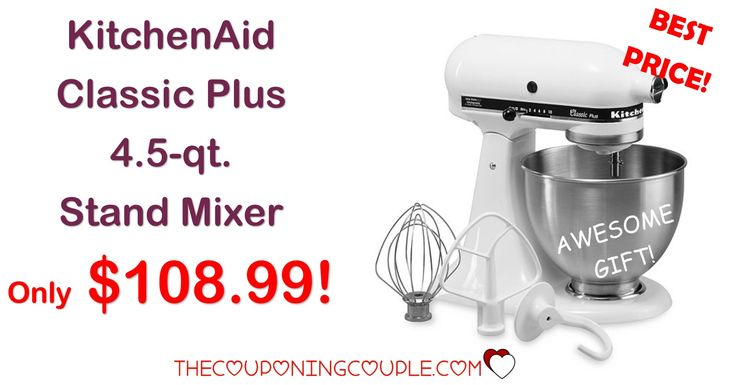 ***BETTER THAN BLACK FRIDAY PRICE NOW*** KitchenAid Classic Plus 4.5 qt Stand Mixer for only $108.99! Awesome addition to any kitchen! Click the Picture below to get all of the details ► http://www.thecouponingcouple.com/kitchenaid-classic-plus-4-5-qt-stand-mixer/ #Coupons #Couponing #CouponCommunity  Visit us at http://www.thecouponingcouple.com for more great posts!