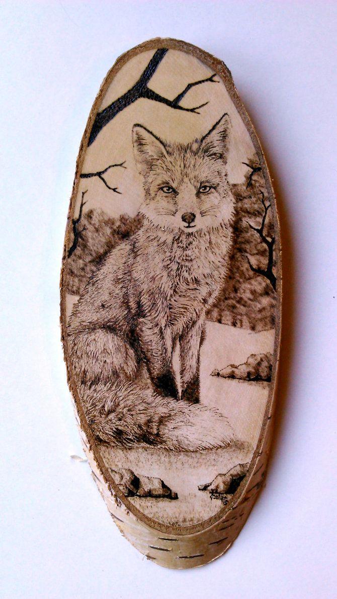 Fox (Vulpes vulpes) pyrography by FizikArt.deviantart.com on @DeviantArt