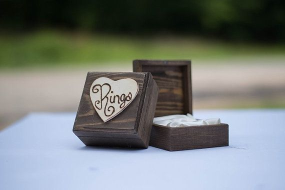 Wedding Ring Box Rustic Ring Box Lined with Satin Color of Your Choice Bride Groom Rings Small Ring Holder Bridesmaid
