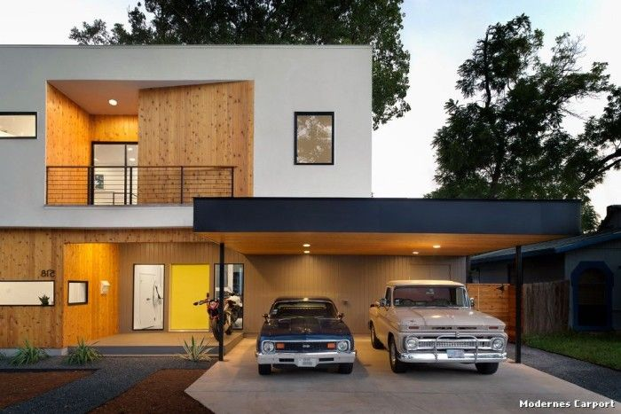 Modernes carport modern haus fassade with front yard by for Contemporary carport design architecture