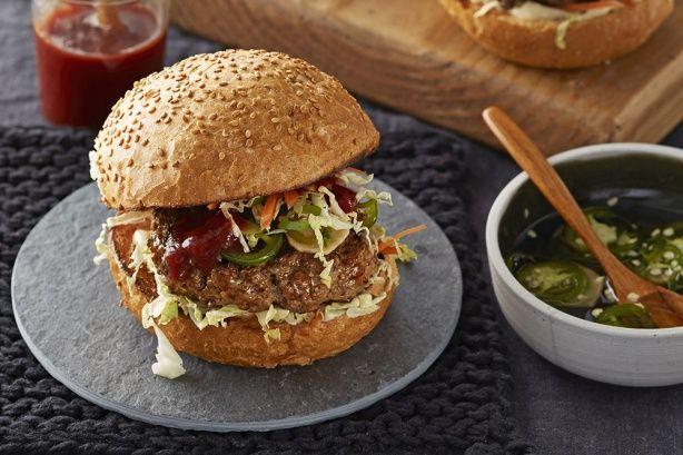 Beef burgers with tonkatsu sauce main image