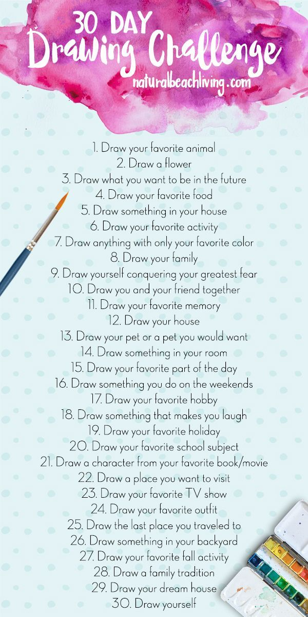 The Best 30 Day Drawing Challenge, The ultimate creative challenge, 30 days of art ideas, using imagination and creativity, Drawing Challenges for Kids