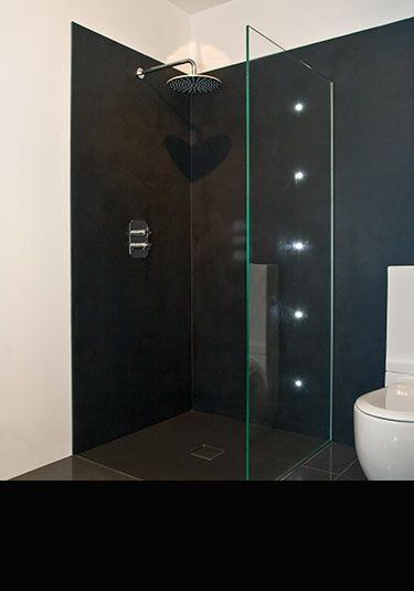 Charcoal Black Shower Waterproof Wall Panels (71D)