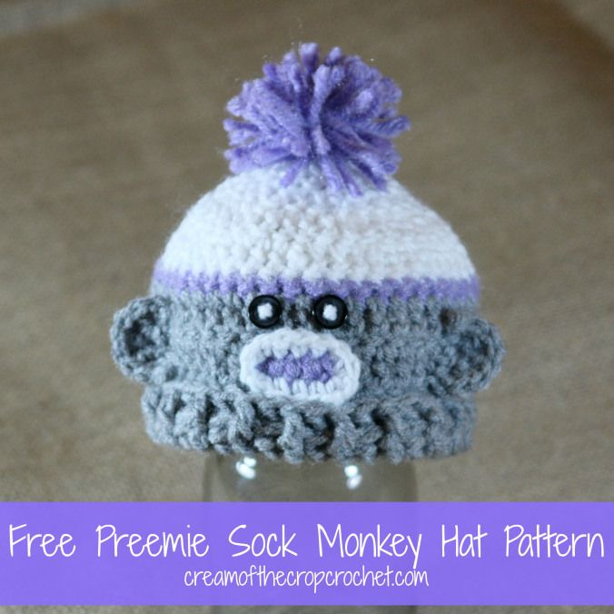 Preemie Sock Monkey Hat {Free Crochet Pattern} Hats for ...