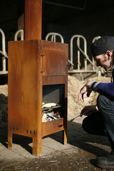 Outdooroven, by Weltevree - makes cooking an outdoor activity, to prolong the outdoor season and be able to enjoy out-of-doors eating and living all year round.