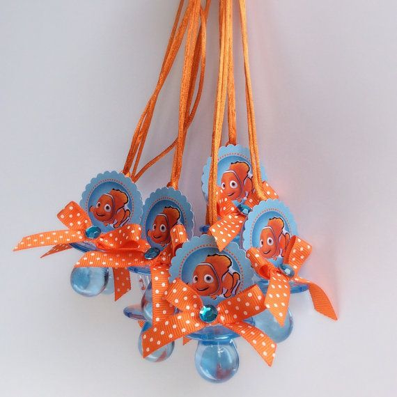 Finding Nemo pacifiers necklace finding nemo by Marshmallowfavors