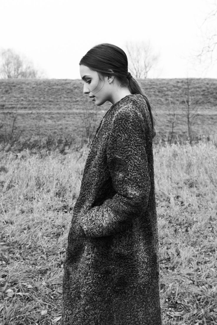 Grey astrakhan coat